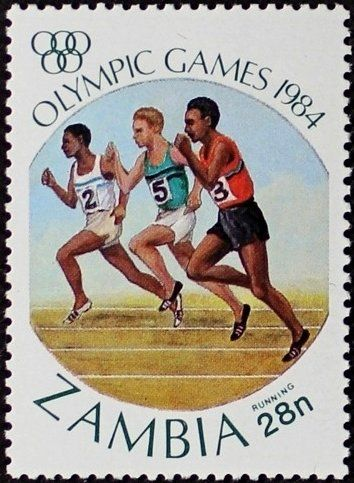 Stamp: Running (Zambia) (Olympic Games Los Angeles) Mi:ZM 315,Sn:ZM 305,Yt:ZM 303,Sg:ZM 409