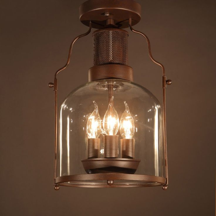 For a rustic and industrial touch, this 3-light flush mount is a good choice. Sold at US$179.99
