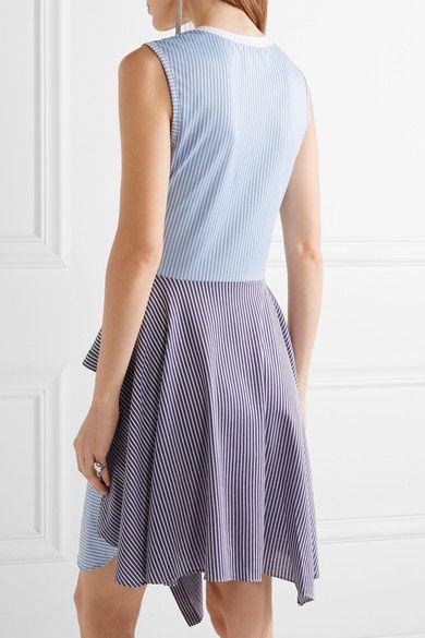 Opening Ceremony - Cody Asymmetric Striped Cotton-blend Poplin And Jersey Dress - Sky blue - large