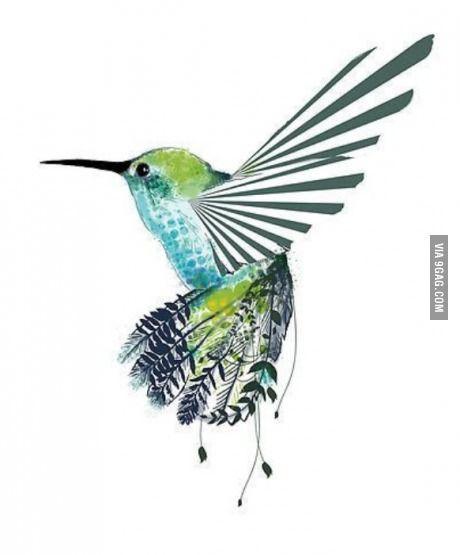 Watercolor hummingbird.