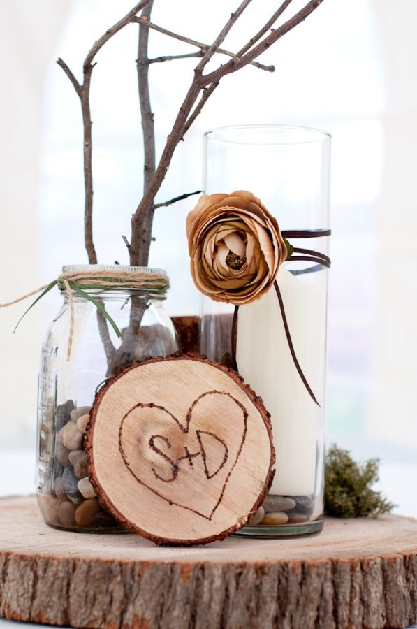 Wood Wedding Centerpieces: Ideas, Wood Centerpieces, Wedding Centrepieces, Rustic Decor, Wood Wedding Centerpieces, Flowers, Mason Jars, Woods, Center Pieces