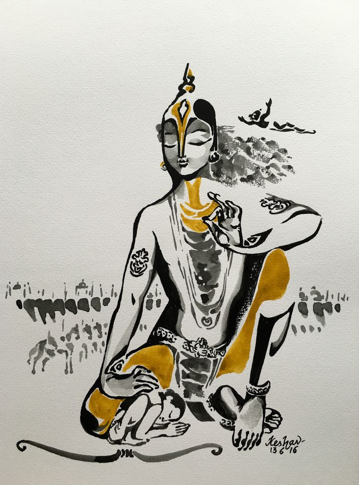 Dialogues with Arjuna. #watercolour #krishnafortoday