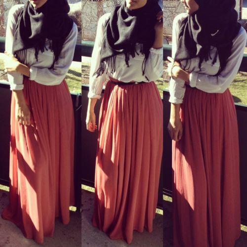 Cute summer outfit! #hijabi #maxiskirt #outfits #hijabioutfit #hijabi