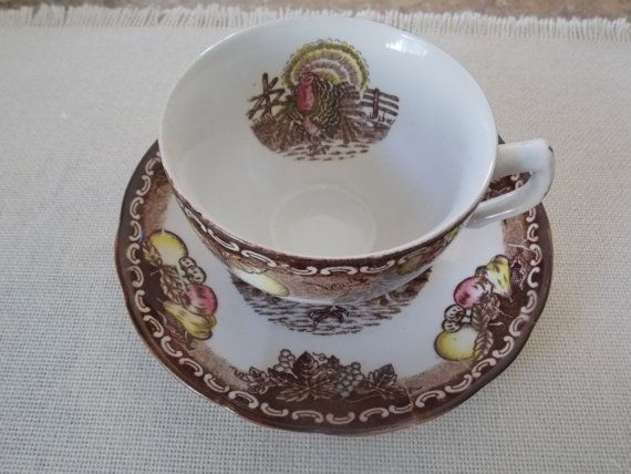 Thanksgiving Turkey Teacup and Saucer  King Tom by GrammieJennie