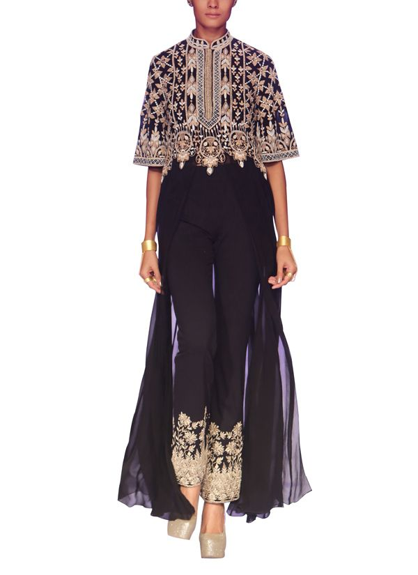 Indian Fashion Designers - Anita Dongre - Contemporary Indian Designer - Jackets - AD-AW14-BANJARA12 - Spectacular Black Jacket Set