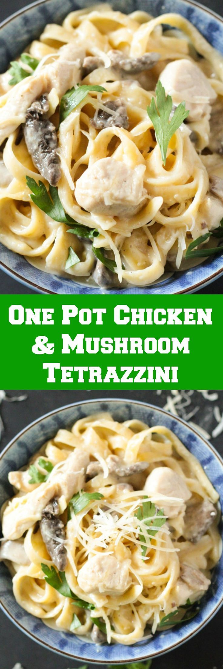One Pot Chicken & Mushroom Linguine Tetrazzini