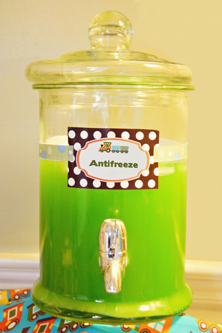 Antifreeze: Bright green punch. LOVE this presentation idea. Especially since its our race car shop party.