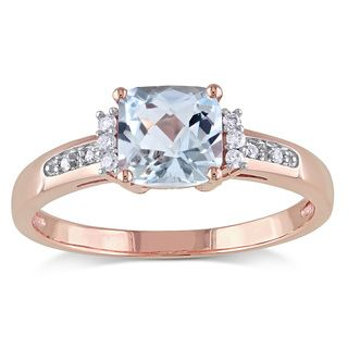 Shop for Miadora 10k Rose Gold Aquamarine and Diamond Accent Cocktail Ring. Get…