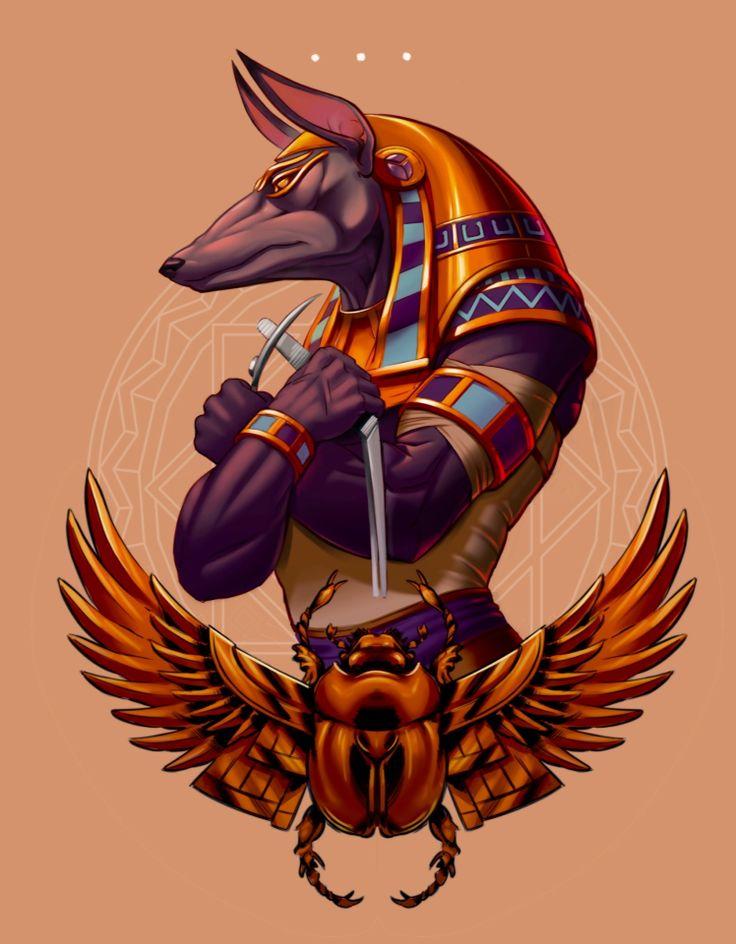 Drodher,  Anubis, historias egipcias  Imagen color.