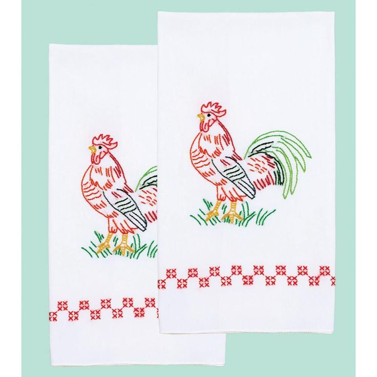 "Stamped White Decorative Hand Towel Pair 17""X28""-Rooster"
