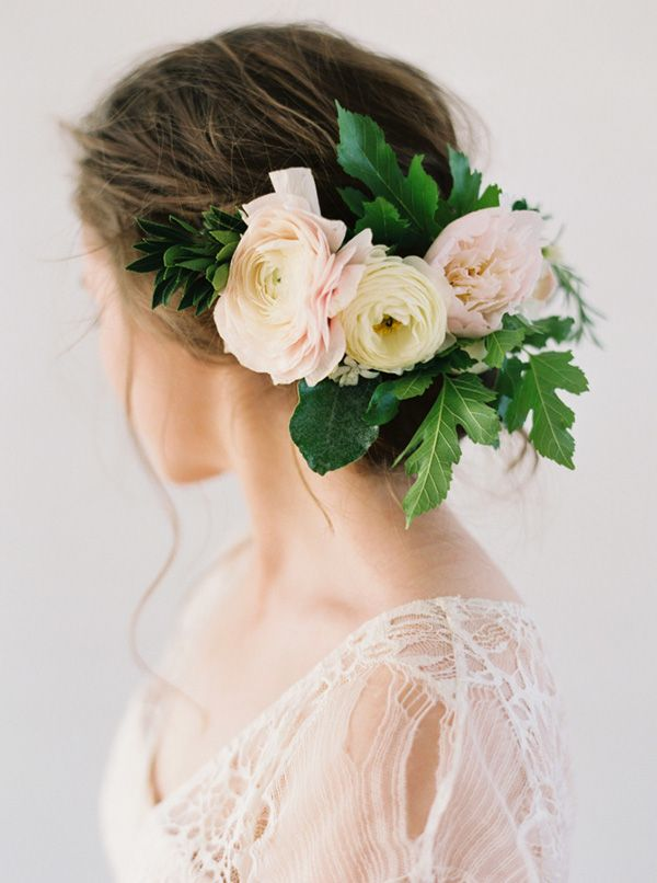 Romantic Bridal Updo with a Delicate Floral Headpiece | Heather Hawkins Photography | http://heyweddinglady.com/floral-romance-blush-peonies-spring-wedding/