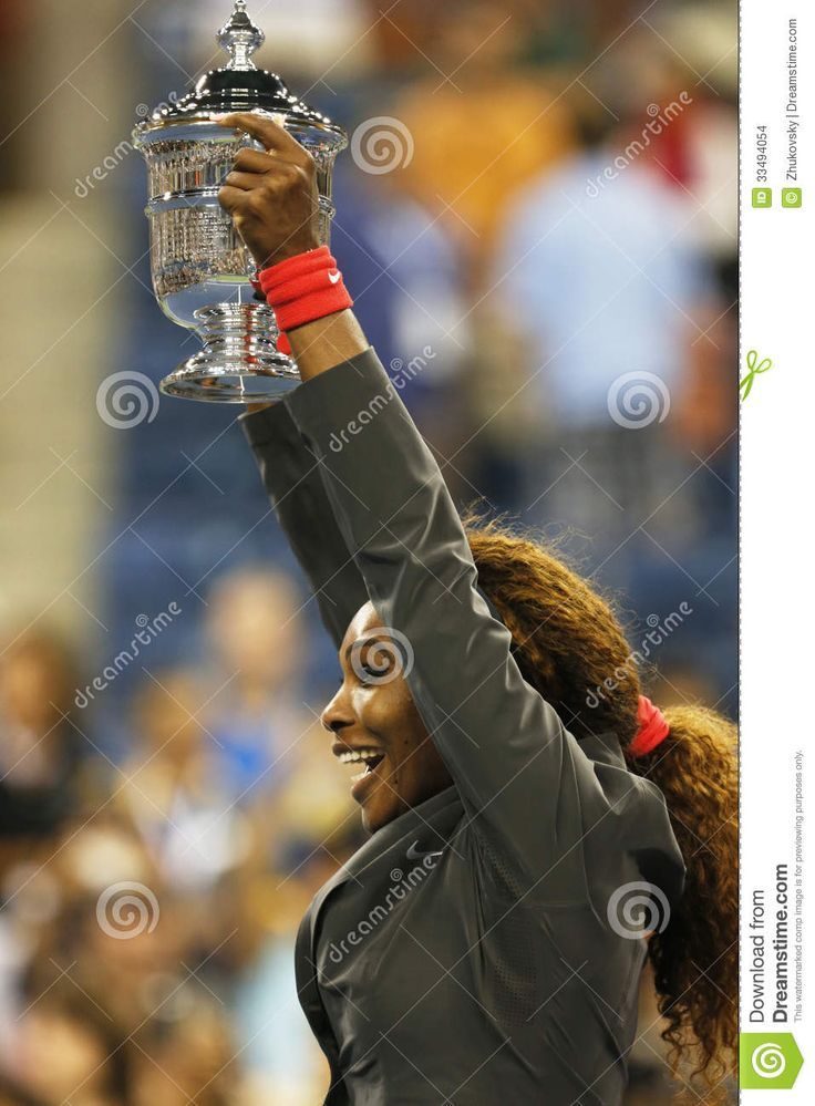 FLUSHING, NY - SEPTEMBER 8: Seventeen times Grand Slam champion and US Open 2013 champion Serena Williams holding US Open trophy after her final match win against Victoria Azarenka at Billie Jean King National Tennis Center on September 8, 2013 in Flushing, NY