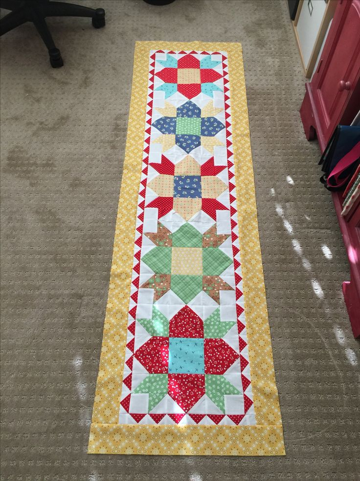 Welcome block by Lori Holt farm girl vintage. Made it into a table runner.