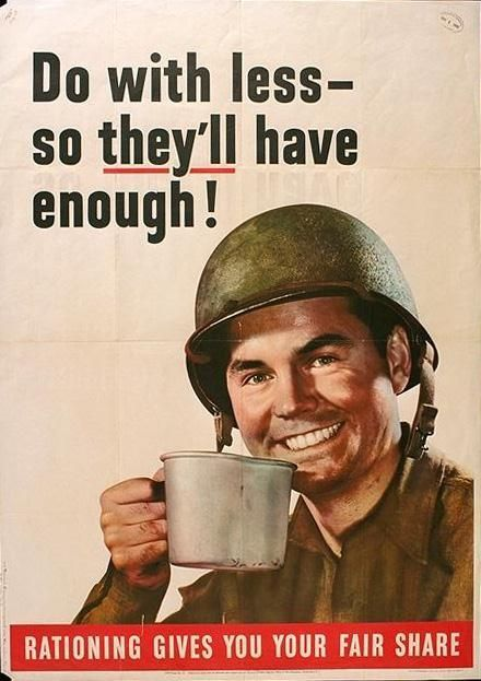 American World War 1 propaganda poster regarding the issue of rationing in the country.  The poster is encouraging people to take only what they need and to share the rest throughout.