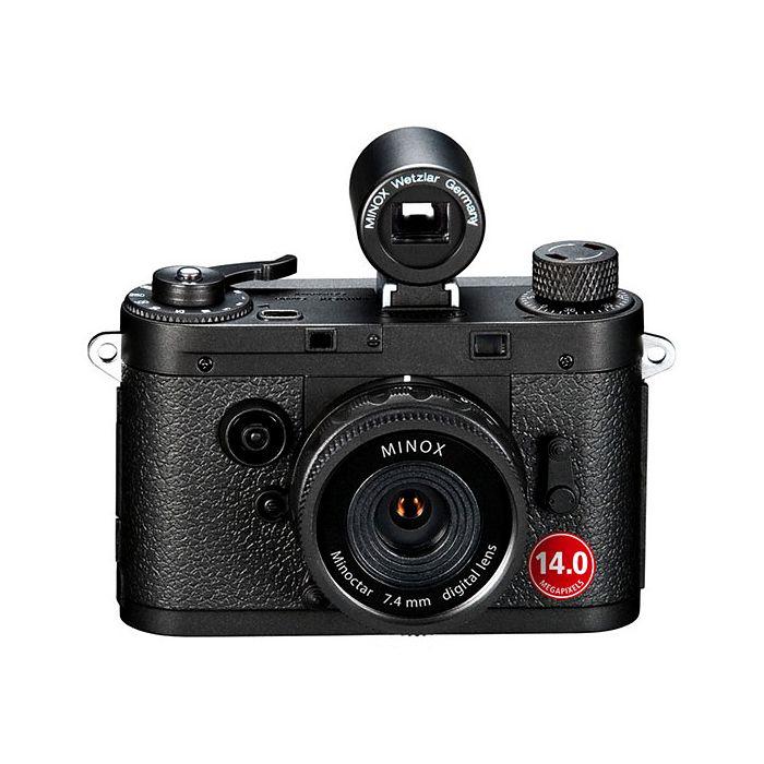 Läcker liten digitalkamera i retrostil. Design hämtad från 1950-talet. Filma eller fotografera. Finns i svart och silver.
