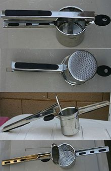 A potato ricer (also called a ricer) is a kitchen implement used to process potatoes or other food by forcing it through a sheet of small holes, which are typically about the diameter of a grain of rice