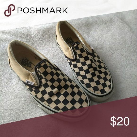 Aged Checkered Vans Gently worn a few times. Discoloration due to storage since 2005. Discolored around sole as well. Men's 6! Vans Shoes Loafers & Slip-Ons
