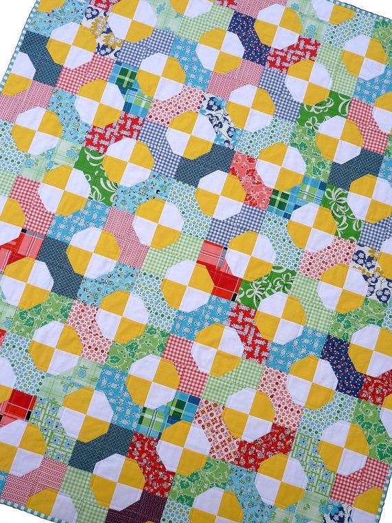 Colorful Bow Tie Quilt by Red Pepper Quilts