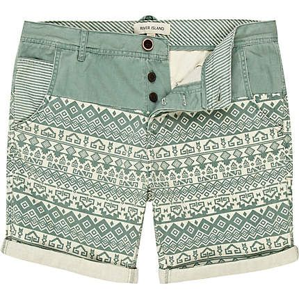 green aztec print shorts - shorts - sale - men - River Island ($20-50) - Svpply