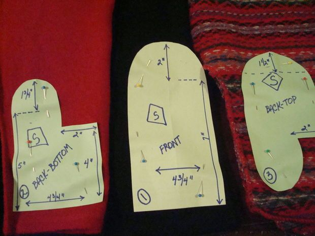 Mitten pattern--upcycle sweater, fleece, line with cotton knit or fleece