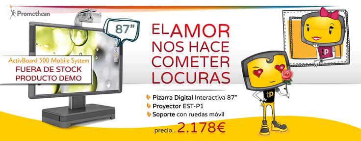 """Mobile System 87"""" #Promethean: Pizarra Digital Interactiva 500 87"""" con altavoces integrados. Proyector EST-P1 de ultra corto alcance. Soporte de ruedas móvil. (Producto Demo) #aula #TIC #education #pizarradigital #587"""