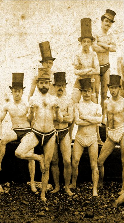 1863 Brighton Swimming Club, England. Manly Men.
