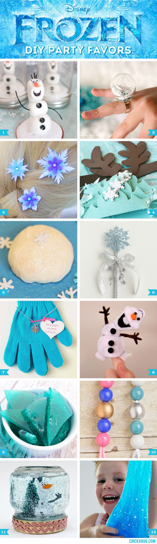 If you're throwing a Frozen party, there's certainly no shortage of official Disney merchandise out there to fill your favor bags! But DIY gifts are super thoughtful, often less expensive, and let's face it… some of uslovean excuse to get craftin'. ; ) Here are 12 funFrozen party favor ideas, with gifts for bothgirlsandboys! 1. Olaf mason jar (water-free) snow globes by My Sister's Suitcase 2. Frozen snow globe rings …