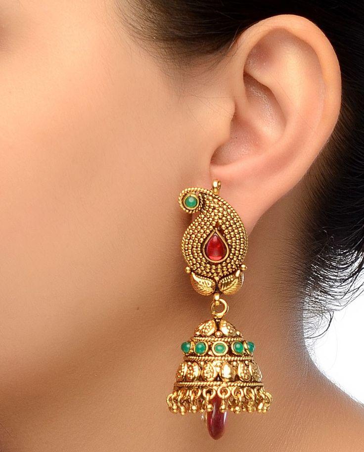 Golden Paisley  Jhumki Earrings