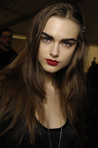Black eyebrows, Eyebrows and Dark red lips on Pinterest