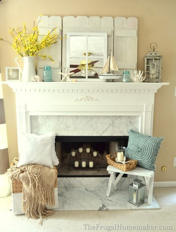 Cottage or coastal themed mantel creative decorating for Summer beach decor