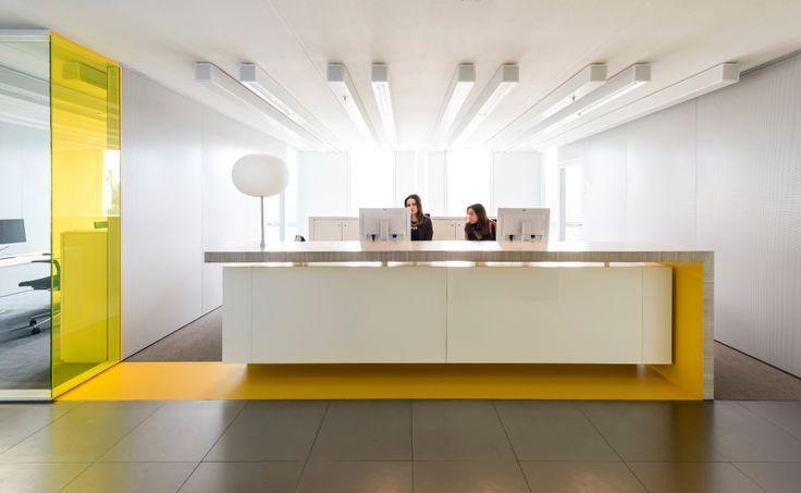 RECEPTION COUNTER, COLOR MERGING WITH FLOOR & WALL Retail reception