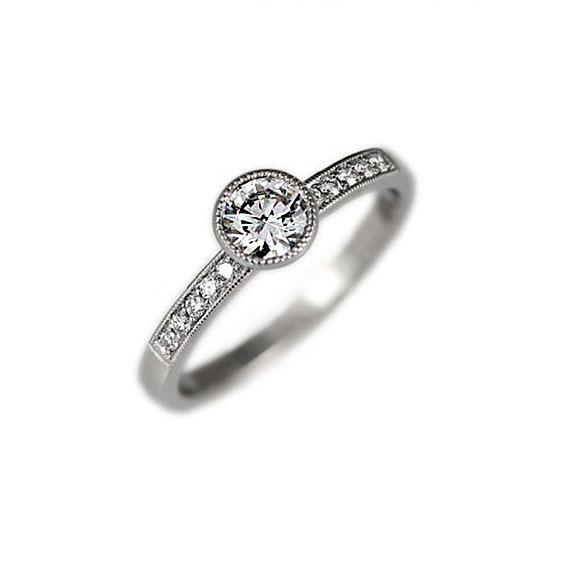 White sapphire engagement ring bezel engagement by KorusDesign