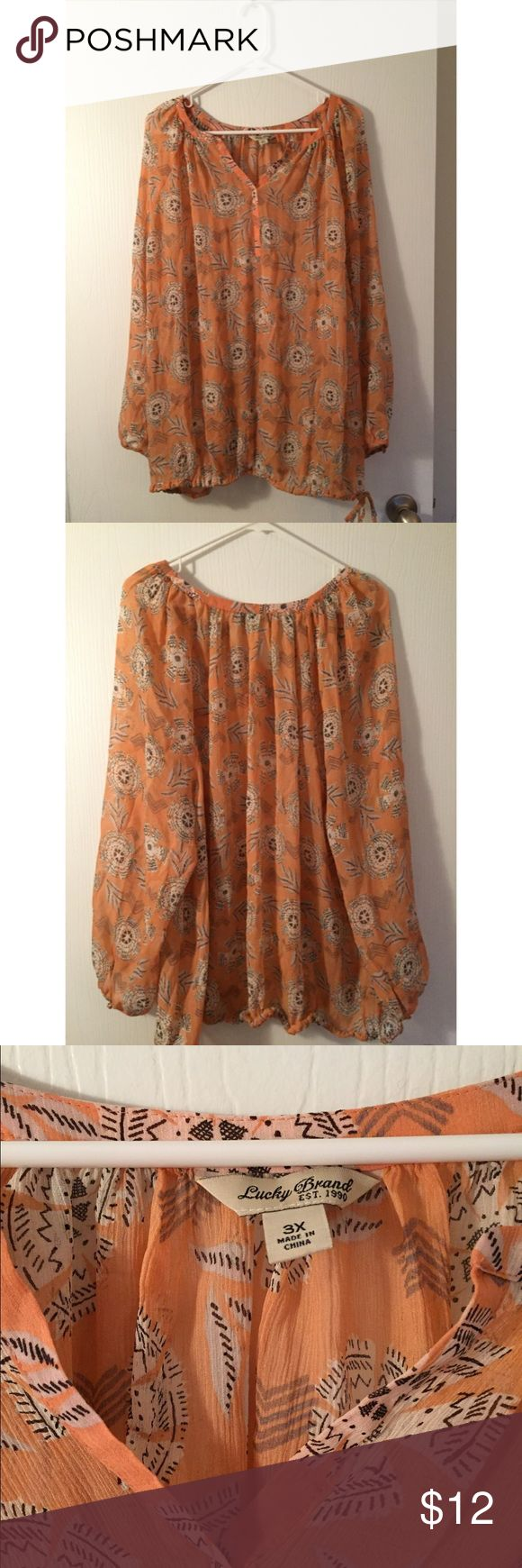 """Lucky Brand Peach Navajo Print Blouse 3X Semi sheer peach blouse with floral Navajo print. Armpit to armpit measures 30"""". Top of shoulder to bottom of shirt is 30.5"""". Really good condition. No stains. Lucky Brand Tops Blouses"""