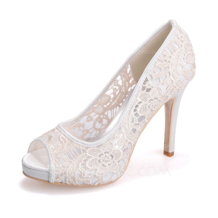 Women's Peep Toe Platform Sandals Stiletto Heel Lace Wedding Shoes
