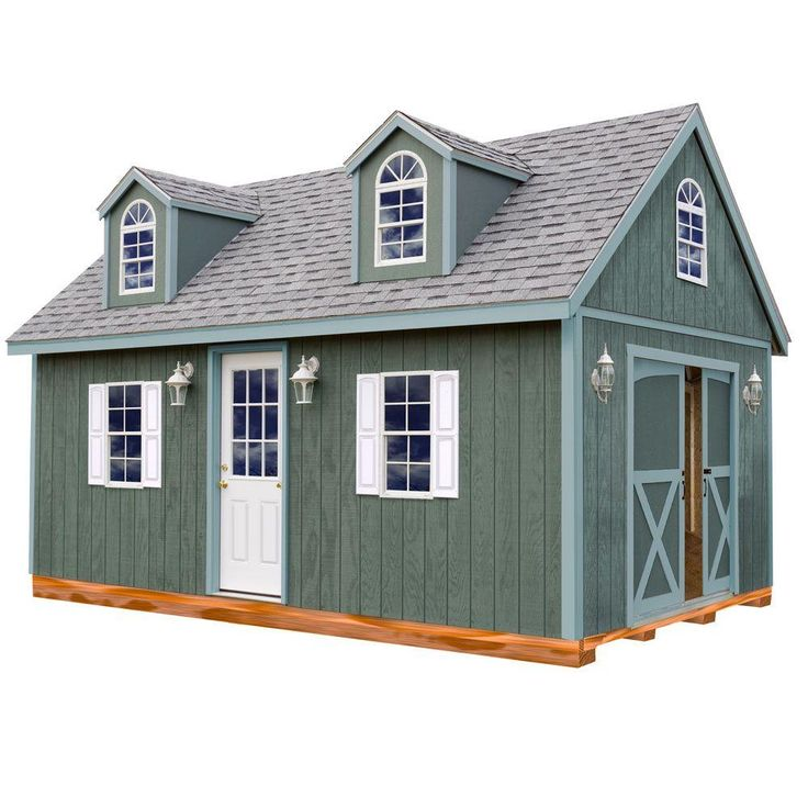 Arlington 12 ft. x 20 ft. Wood Storage Shed Kit with Floor Including 4 x 4 Runners, Clear