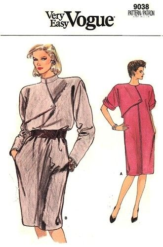 Vogue 9038 Chemise Dress with Edgy Overlay 1980s