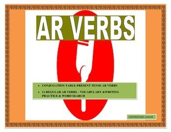 This interactive AR Verbs Unit is an incredible tool to teach your students how to conjugate AR verbs effectively. It begins by providing a vocabulary list of 11 high used AR verbs. Included in the lists are verbs such as hablar and llamar. The Conjugation table is an amazing tool to teach students basic rules of conjugation.