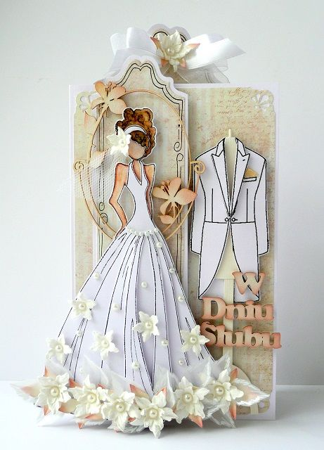 kartkulec, Card with flowers and Prima Julie Nutting Doll in white
