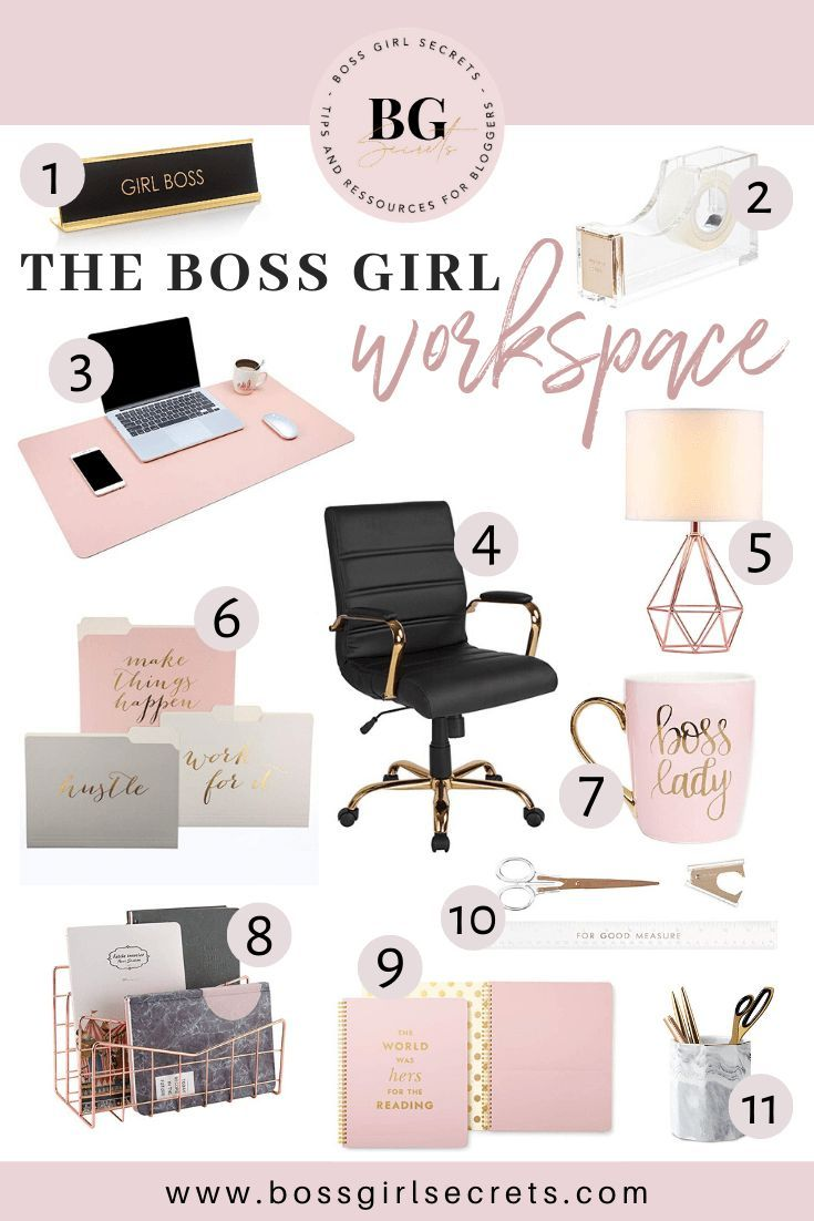 Rose Gold Office Decor The Boss Girl Workspace Gold Office Decor Cute Office Decor Chic Office Decor