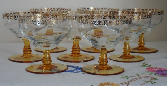 Vintage 1950s Gold Print Champagne Glasses by AuntyDollsWardrobe