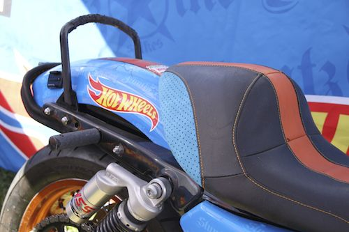 Canvas Barn Marine Trimming noticed this use of #WarwickFabrics Macro dot Macrosuede on the Hotwheels bikes at Bathurst 1000 2014. Great fabric for the marine environment when it was available.