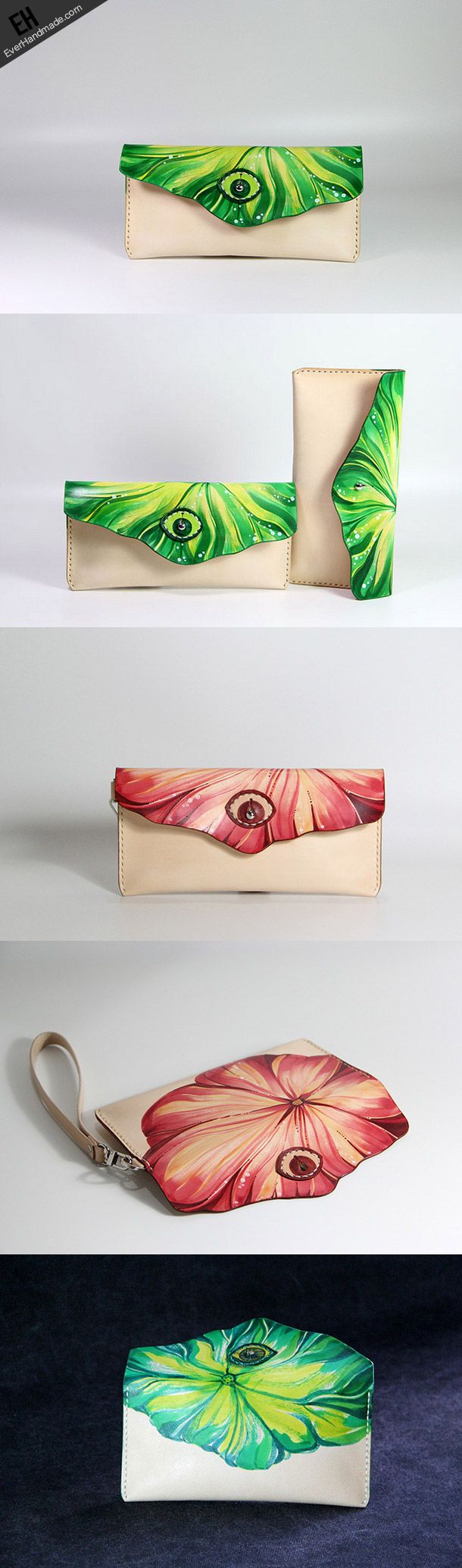 Handmade custom hand painted leather clutch long wallet for women/lady   EverHandmade