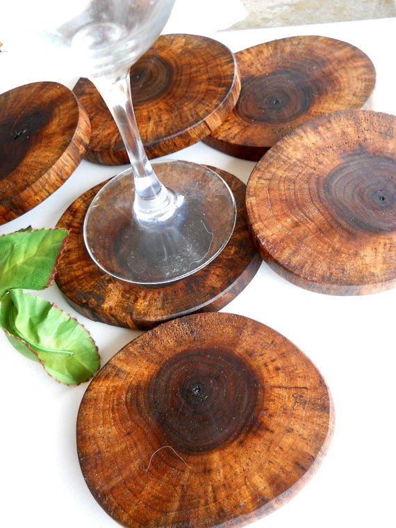 6 Rustic Wooden Coasters Black Walnut Wood Tree Branch Coasters 3.5 x 4 inch - for Gift Giving, Christmas, House Warming Gifts
