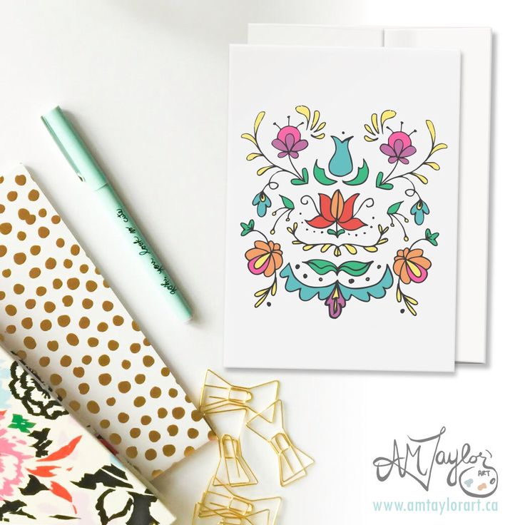 A personal favorite from my Etsy shop https://www.etsy.com/ca/listing/498049522/traditional-floral-print-colorful-blank
