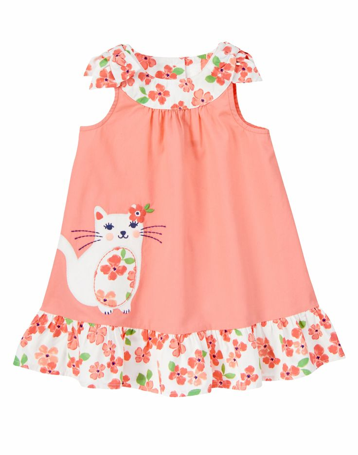 Sunny day sweetie! Your little gal looks cute as a kitten in our cherry blossom cat dress. Adorable design accents floral print collar, shoulder bows and fluffy skirt ruffle. Crisp cotton poplin is a comfy, breezy favorite for spring play dates.