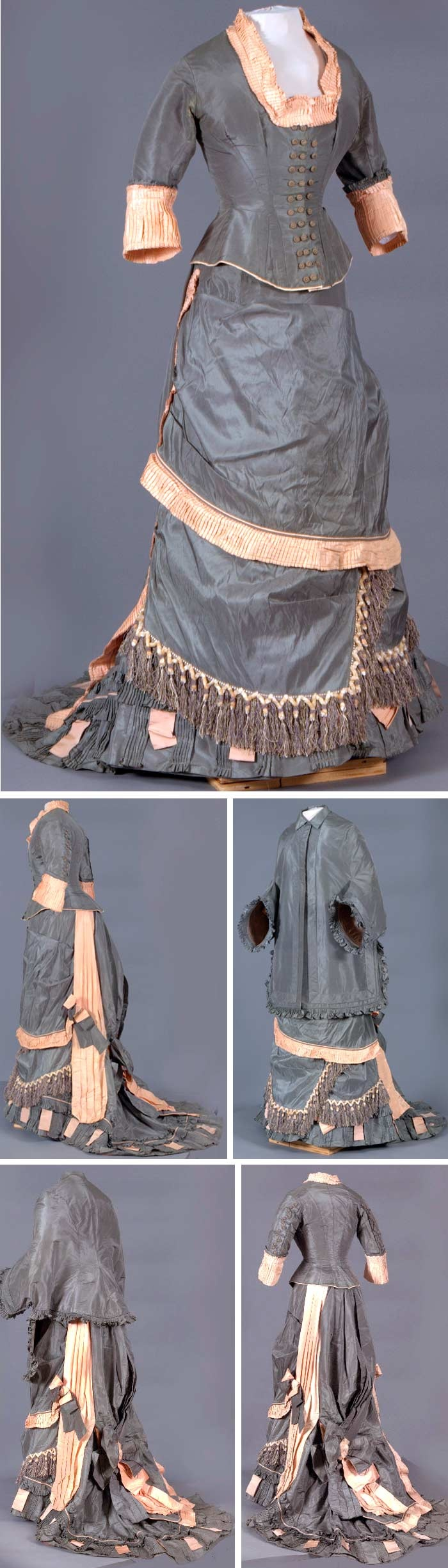 Pale salmon and gray silk taffeta bustle ensemble, ca. 1870s, trimmed with pale salmon taffeta ruffles and white and gray tassel trim, swags, bustle, and train; fitted bodice with 3/4 sleeves, square neckline and triple button closure up front.Vassar College