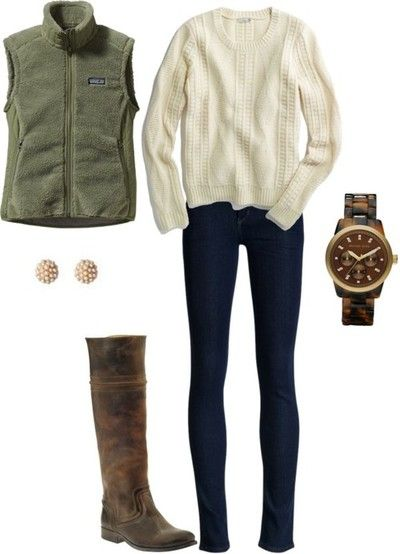 ]featuring Madewell cable sweater / Patagonia / Citizens of Humanity low rise jeans / Frye kitten heel boots / MICHAEL Michael Kors michael kor / Anthropologie pave jewelry