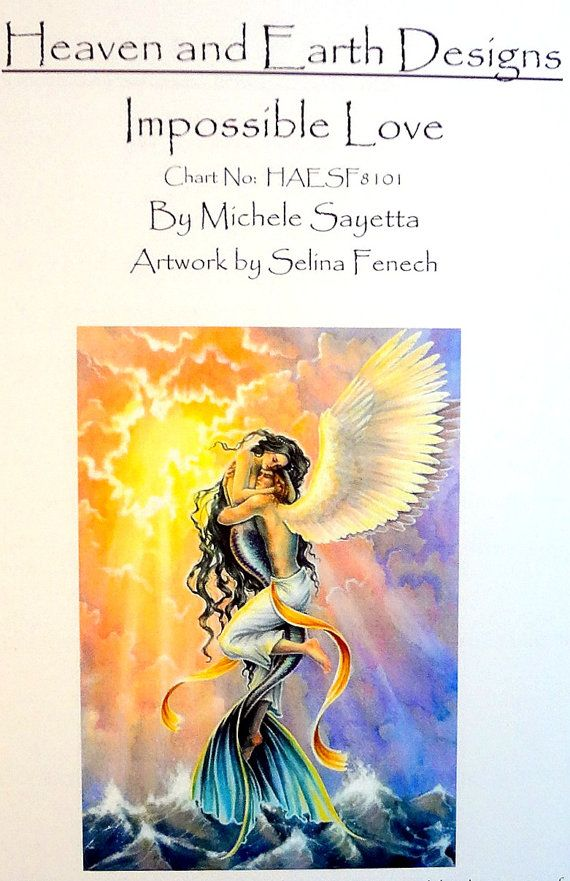 SALE! Impossible Love Cross Stitch Pattern by Heaven and Earth Designs (HAED) - Mermaid, Angel, Ocean, Selina Fenech Art