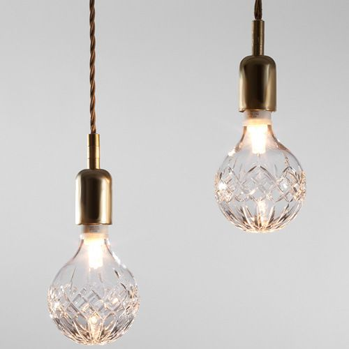 crystal lightbulbs - traditional materials in unexpected places, also combining elegance with industrial