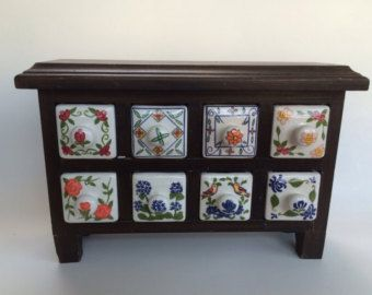 Eight Ceramic Drawer Spice Trinket  Cabinet
